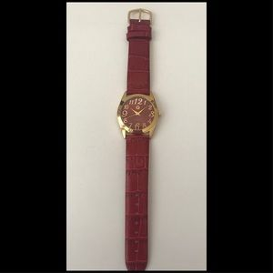 New Gossip Watch - Ruby Red & Gold Tone